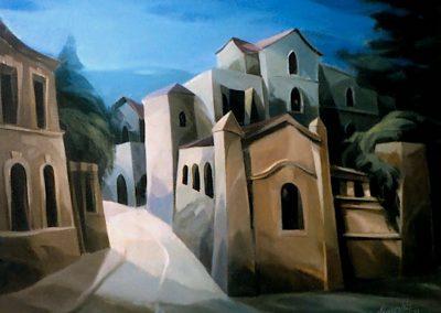 001 - una esquina y una callecita - 50 x 60 cm - oleo s.tela - 1984