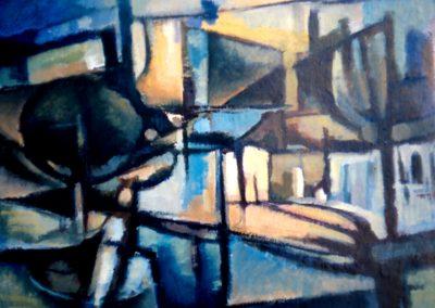 005 - Calle de mi barrio -30x50.- 1971 Oleo.s.cartón