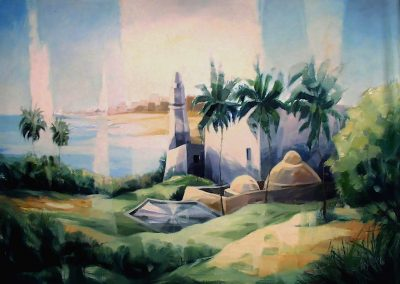 011 - Jerusalem y su pinos - 50x60 cm.- oleo.s.tela - 1987