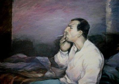 017 - El fumador 73x99 cm.- acril.s.tela- 1989